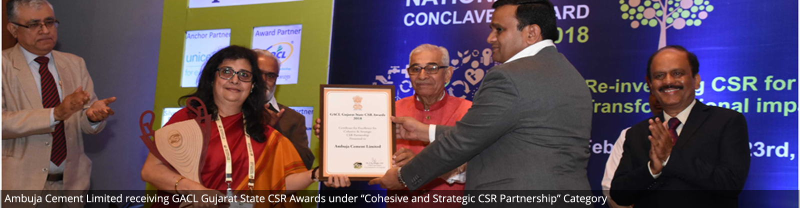 "Ambuja Cement Limited receiving GACL Gujarat State CSR Awards under ""Cohesive and Strategic CSR Partnership"" Category"