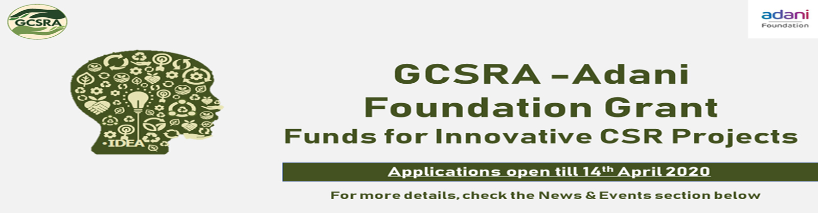 GCSRA-Adani Foundation Grant Funds for Innovative CSR Projects